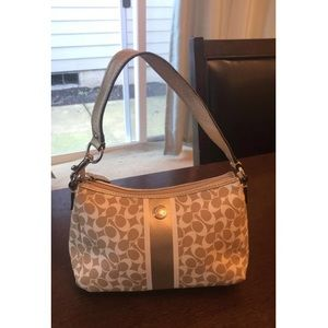 Small Gold and White Coach Purse